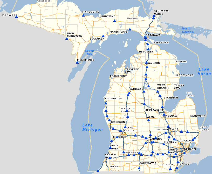 michigan rest area map